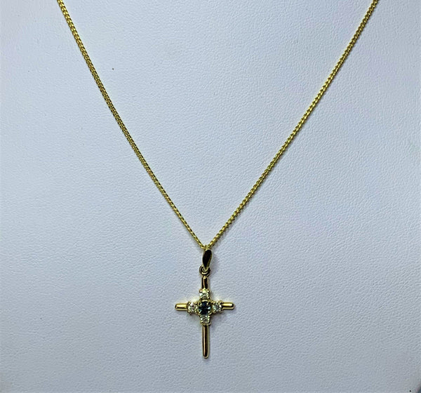 9ct Yellow Gold Sapphire and Diamond Cross Pendant