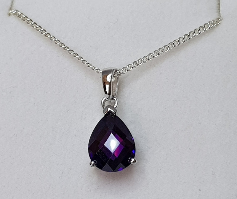 Pear Purple CZ Sterling Silver Pendant