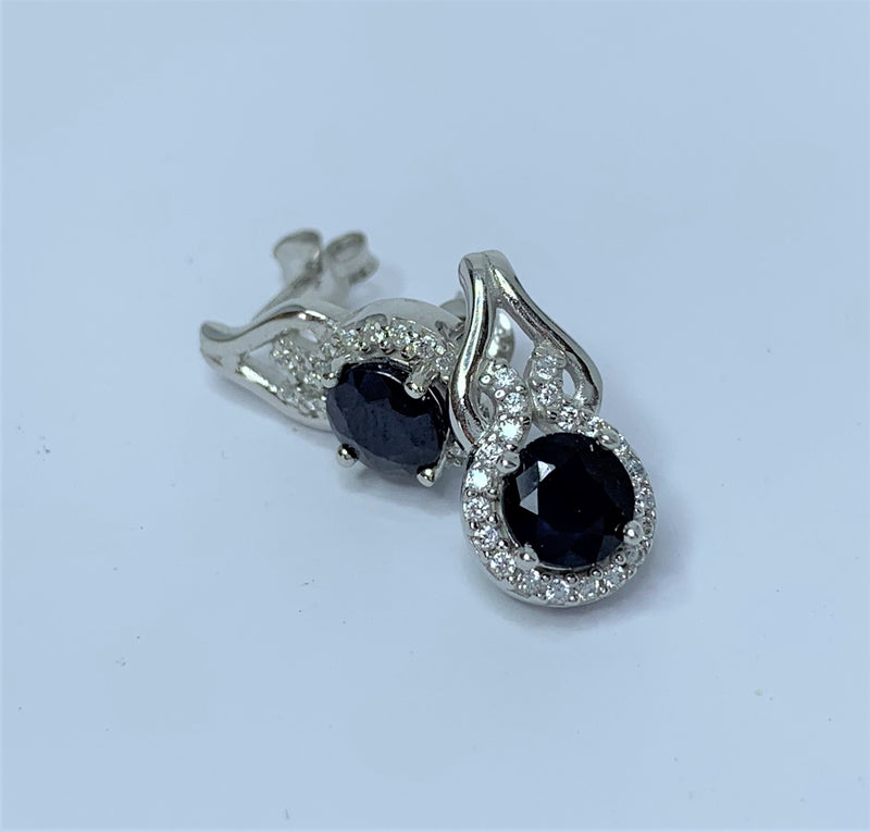 Round Sapphire and CZ Twist Drop Sterling Silver Studs