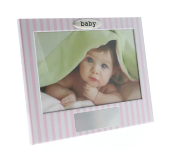 Pink White Stripe Engravable Girl Photo Frame