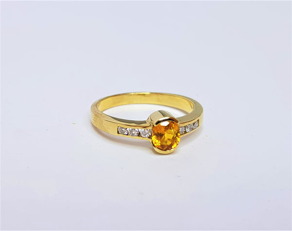 9ct Yellow Gold Oval Golden Sapphire and Diamond Ring