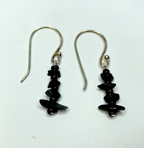 Black Tourmaline Sterling Silver Shepherd Hooks