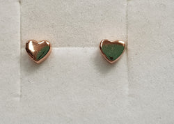 Solid Heart Rose Gold Plate Studs