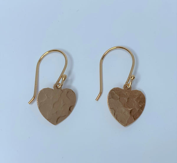 Rose Gold Plate Pressed Heart Sterling Silver Hooks