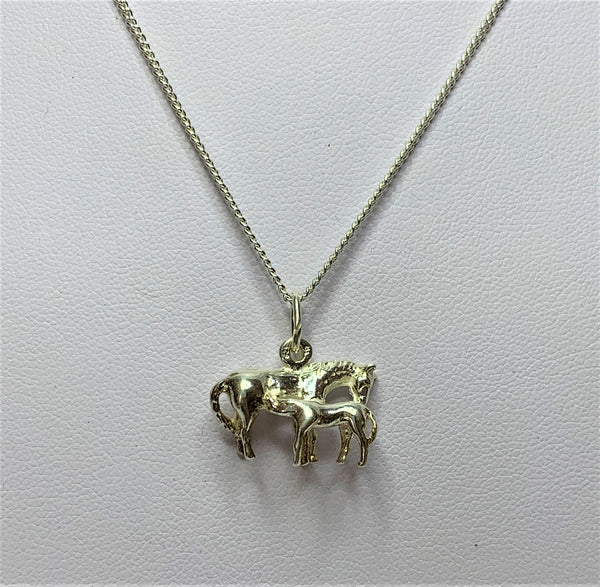 Horse and Foal Sterling Silver Pendant
