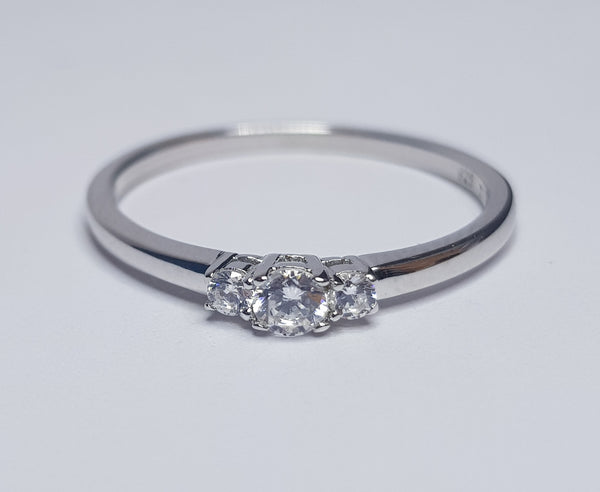 Brilliant Cut 3 Stone CZ Sterling Silver Ring