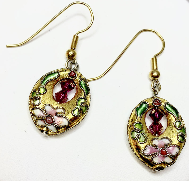 Cloisonne & Swarovski Crystal Drop Earrings