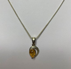 Amber Half Moon Sterling Silver Pendant