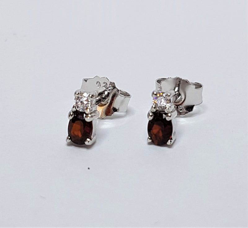 Oval Garnet And Cubic Zirconia Sterling Silver Earrings