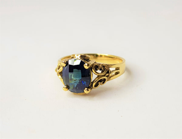 9ct Yellow Gold Checkerboard Inverell Sapphire Filigree Ring