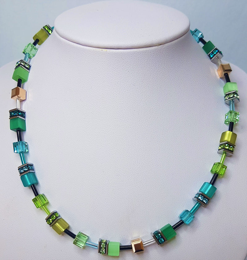 Green Geo-Cube with Rhinestone, Glass, Synthetic Tigers Eye, Polaris & Swarovski Crystals Necklace