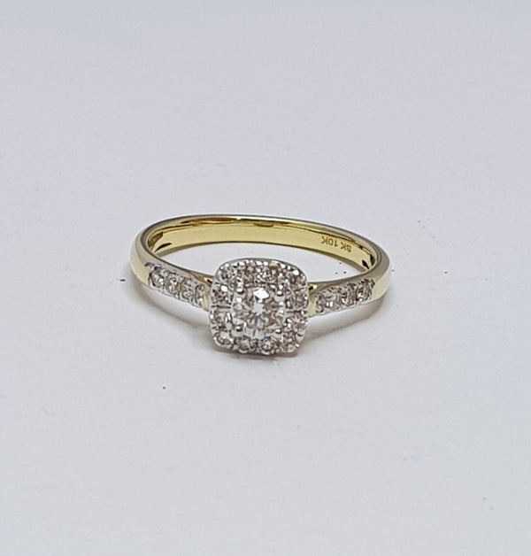 10ct Yellow Gold Diamond Cluster Engagement Ring