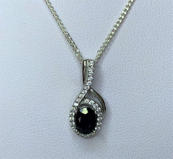 Oval Sapphire and CZ Swirl Drop Sterling Silver Pendant