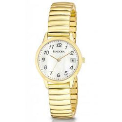 Bilboa by Isadora Mother Of Pearl Dial with Gold Tone Expansion Bracelet Watch