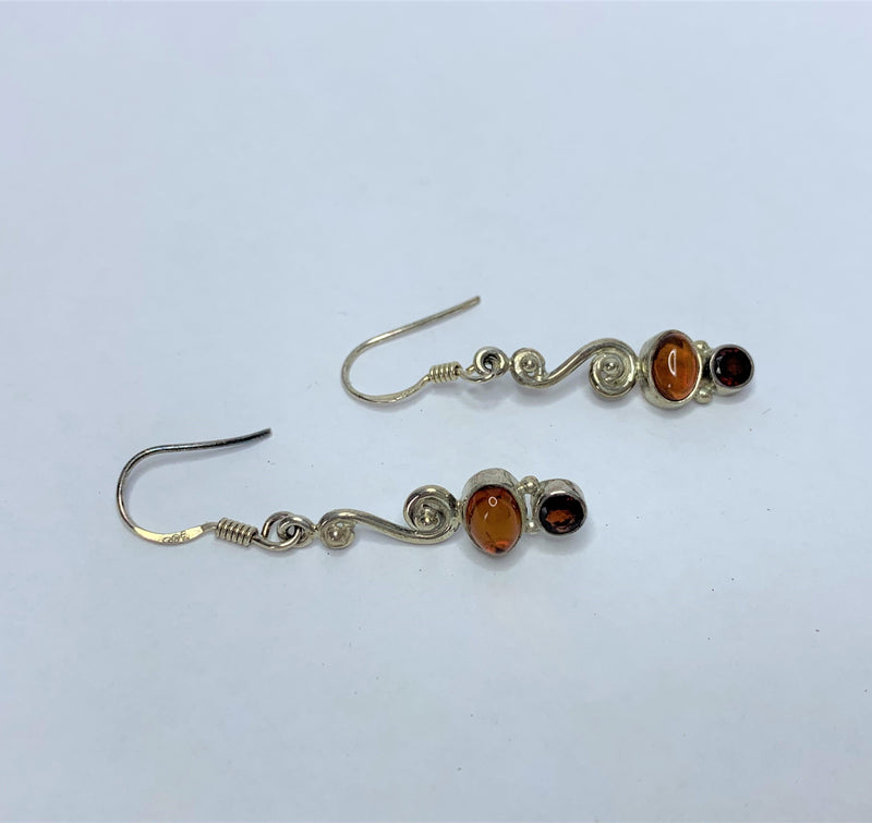 Amber Sterling Silver Drop Hooks