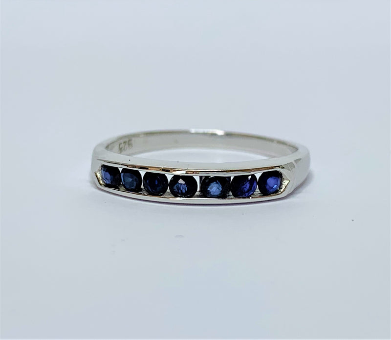 Sapphire Channel Set Sterling Silver Ring