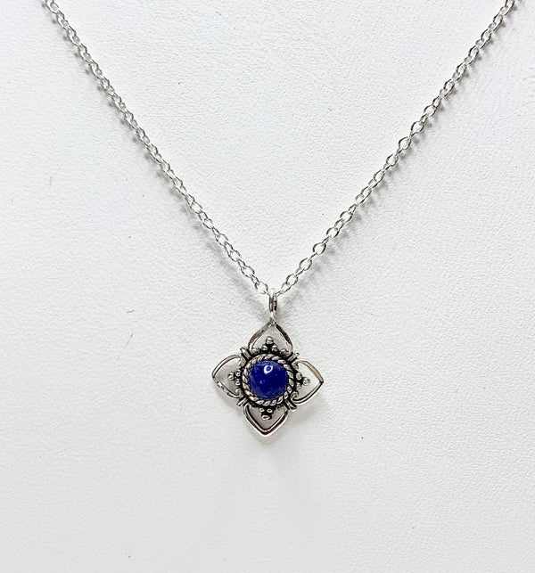 Sterling Silver Flower With Sodalite