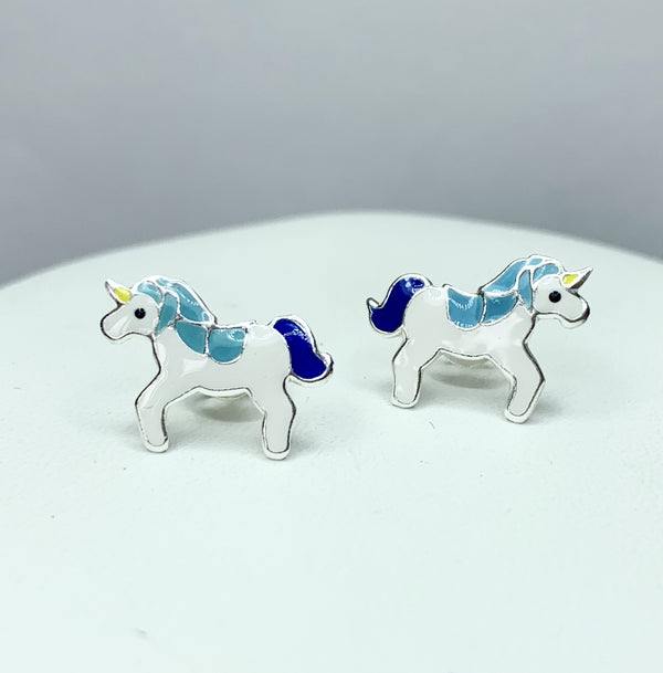 Dark Blue and Purple Sterling Silver Studs