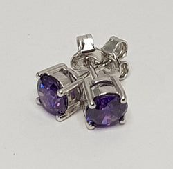 Round Purple CZ Sterling Silver Studs