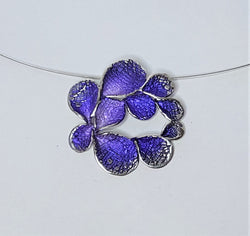 Purple Powdered Enamel Petal Sterling Silver Pendant