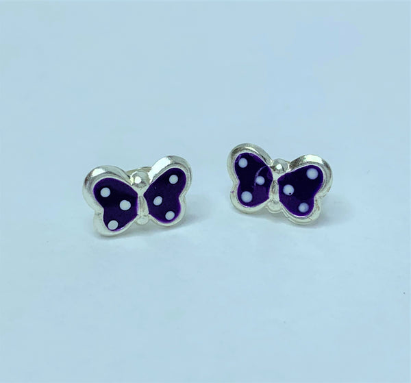 Purple Butterfly Sterling Silver Studs