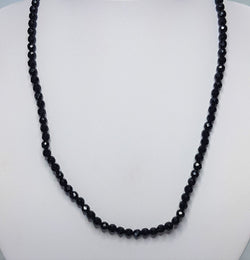 Faceted Black Onyx Bead Sterling Silver Necklet