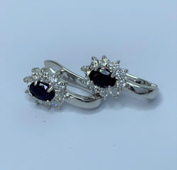 Oval Sapphire and CZ Cluster Sterling Silver Studs with Clips