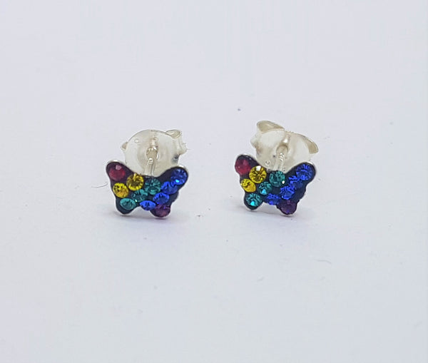 Rainbow Crystal Butterfly Sterling Silver Studs