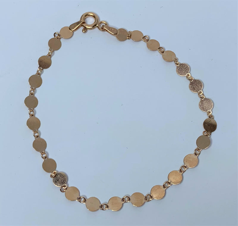 Rose Gold Plate Disc Sterling Silver Bracelet