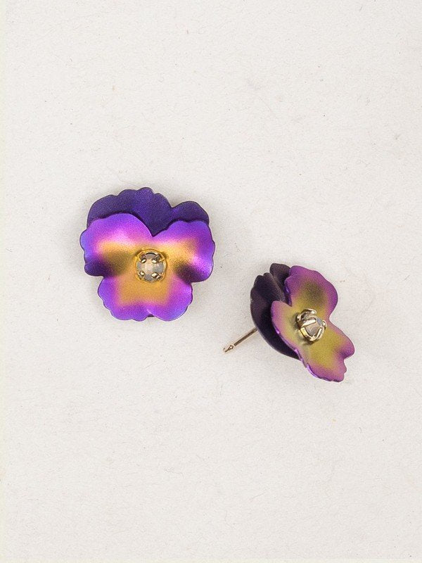 Pansy Purple Silver Stud Earrings