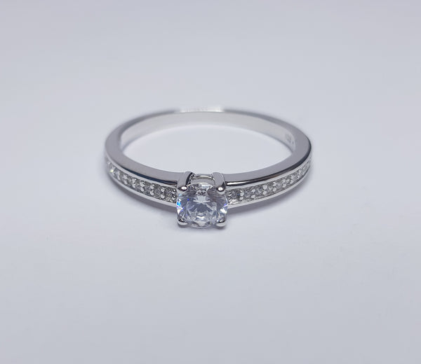 Round CZ with CZ set Shoulders Sterling Silver Ring