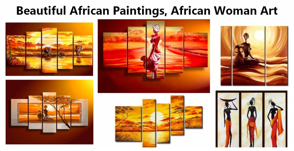 African Painting, African Woman Painting, African Landscape Paintings, Acrylic African Wall Art Painting