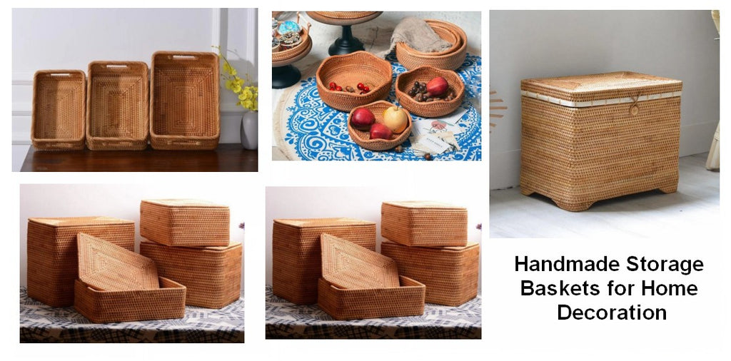 Storage Ideas, Beautiful Rattan Storage Basket for Shelves Round Storage Baskets for Kitchen and Bedroom Baskets with Lip