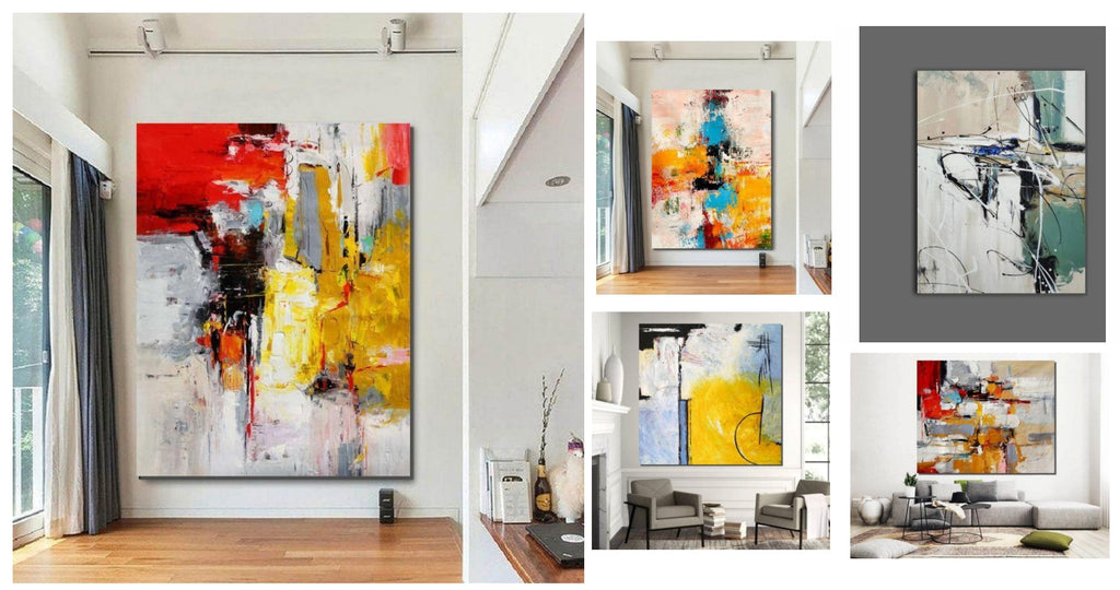Simple Acrylic Painting Ideas for Living Room, Easy Original Abstract Wall Art Ideas for Bedroom