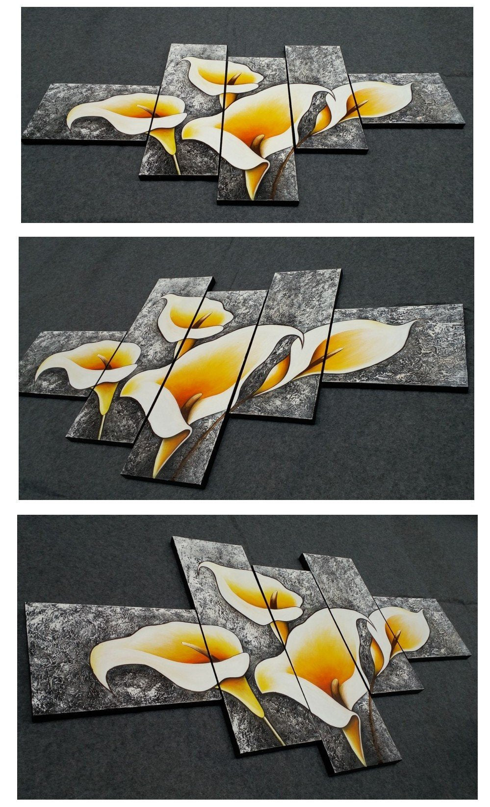 Calla Lilty Flower Painting, 5 Panel Canvas Painting