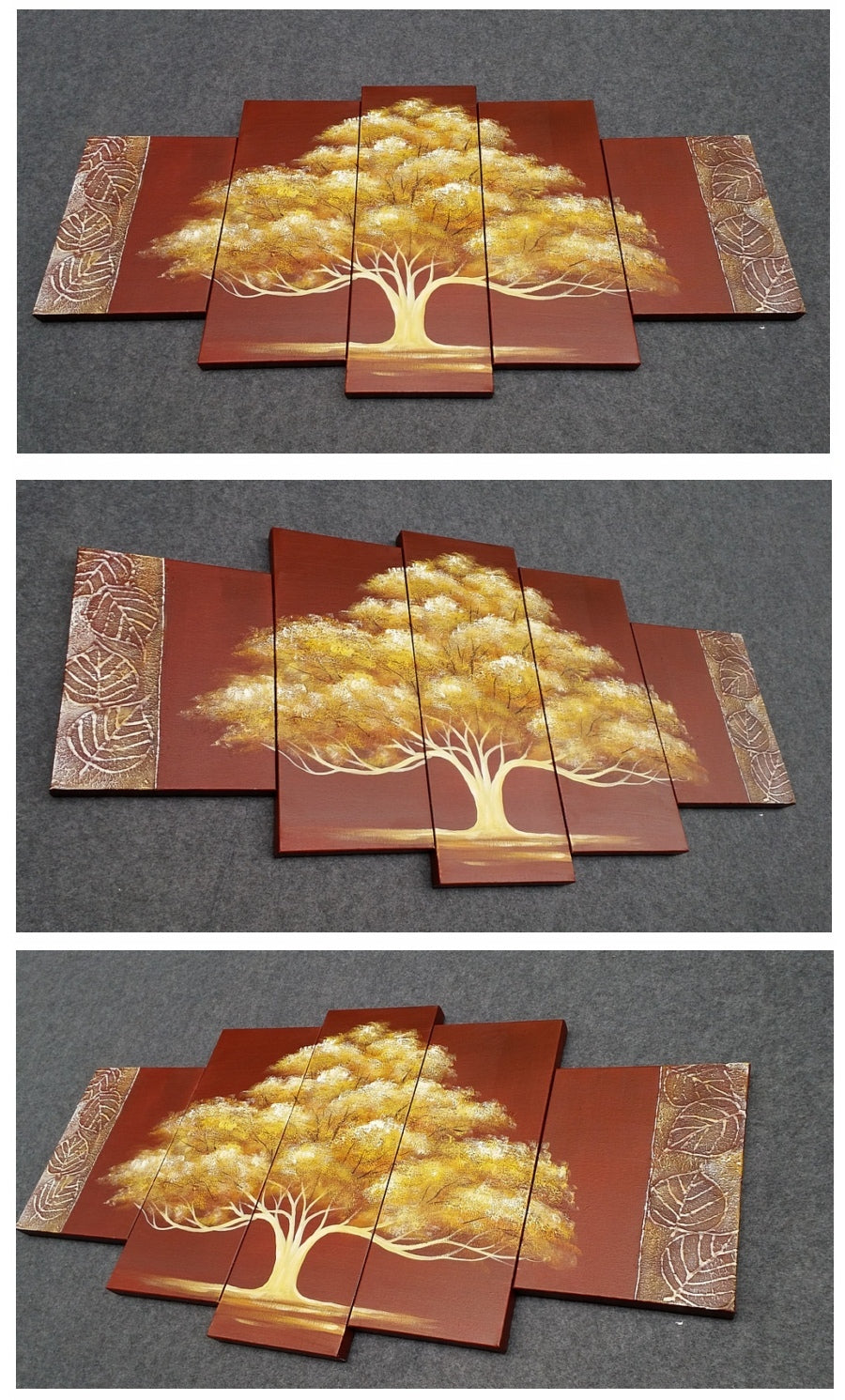 Tree of Life Painting, Heavy Texture Art, 5 Piece Canvas Painting