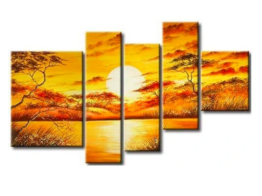 Canvas African Art, African Big Tree Painting, African Painting, Living Room Room Wall Art, 5 Piece Canvas Painting