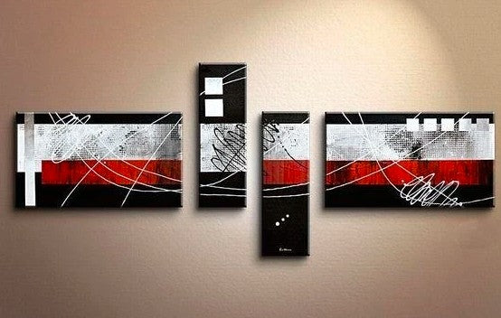 Canvas Art, Large Abstract Art, Oil Painting, Black and Red Canvas Painting, Painting for Sale