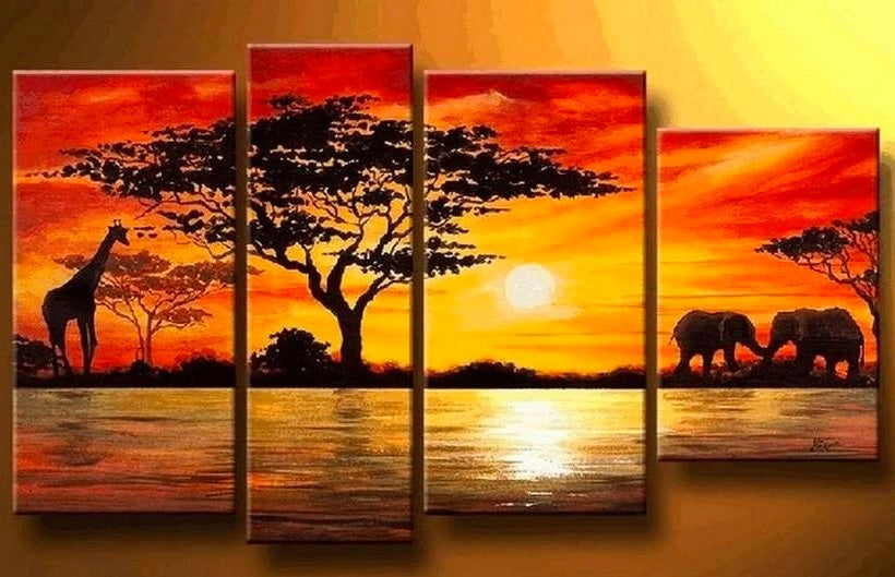 African Painting, Sunset Painting, Acrylic Paintings for Living Room, African Landcape Paintings, African Tree Painting