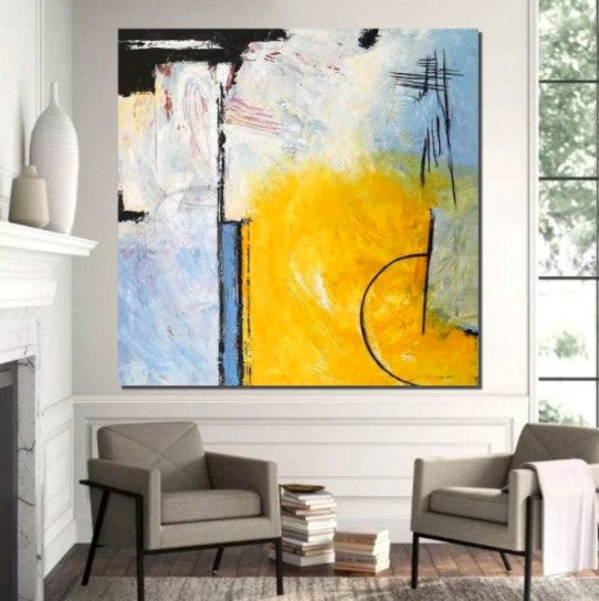 Contemporary Modern Art, Simple Acrylic Painting, Large Abstract Paintings for Dining Room, Living Room Canvas Painting