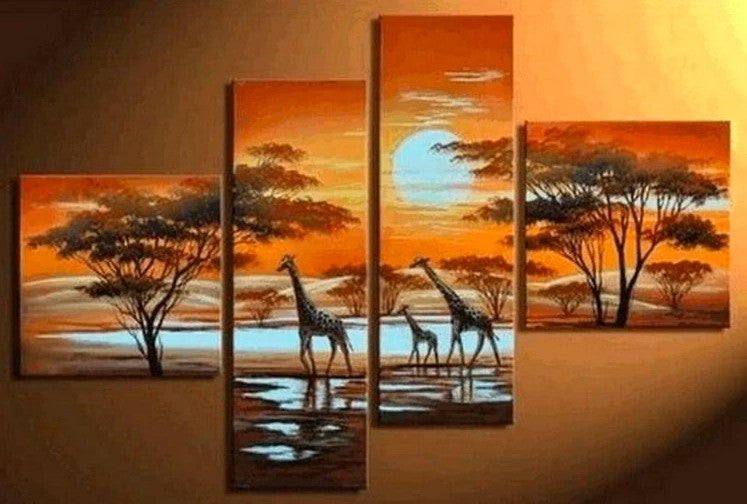 Wall Art Painting for Living Room, African Painting, Sunset Painting, African Landscape Painting