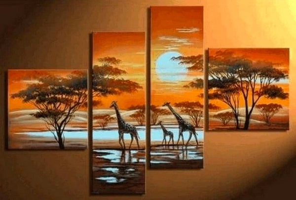 African Painting, Sunset Painting, Extra Large Painting, Living Room Wall Art