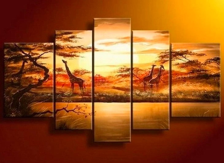 African Landscape Painting, African Painting, Sunset Painting, 5 Piece Canvas Wall Art, Living Room Wall Art Paintings