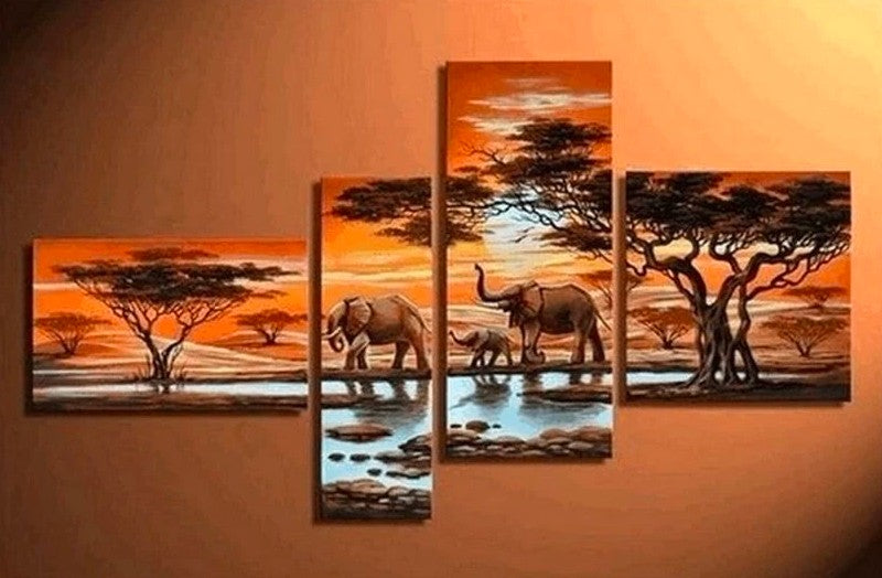 African Painting, African Sunset Painting, Bedroom Wall Art Paintings, African Animal Painting, Living Room Wall Art