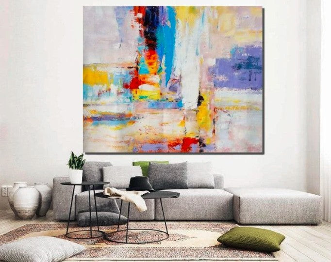 Modern Wall Painting, Contemporary Acrylic Art, Paintings for Bedroom, Hand Painted Canvas Painting