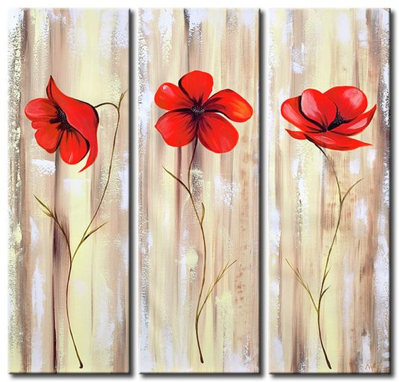 3 Piece Paintings, Acrylic Flower Paintings, Abstract Flower Paintings, Red Poppy Flower Paintings, Easy Flower Paintings for Beginners