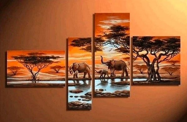 African Painting Sunset Animal Painting, African Painting, Living Room Wall Art
