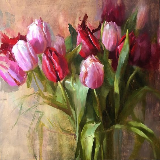 Tulip Flower Paintings, Still Life Painting, Acrylic Flower Paintings, Abstract Flower Paintings, Floral Paintings, Paintings for Bedroom