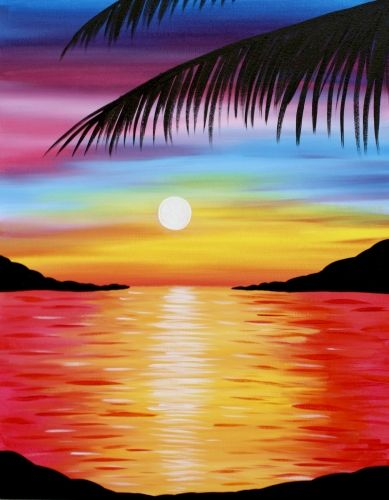 Sunrise Painting, Beach Paintings, Acrylic Landscape Paintings, Easy Landscape Paintings Ideas for Beginners