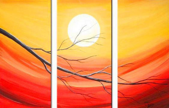 Easy Landscape Paintings Ideas for Beginners, 3 Piece Painting, Tree Painting Ideas, Moon Landscape Paintings